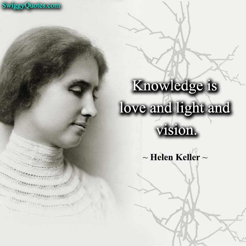 Knowledge is love and light and vision - helen keller quote about vision