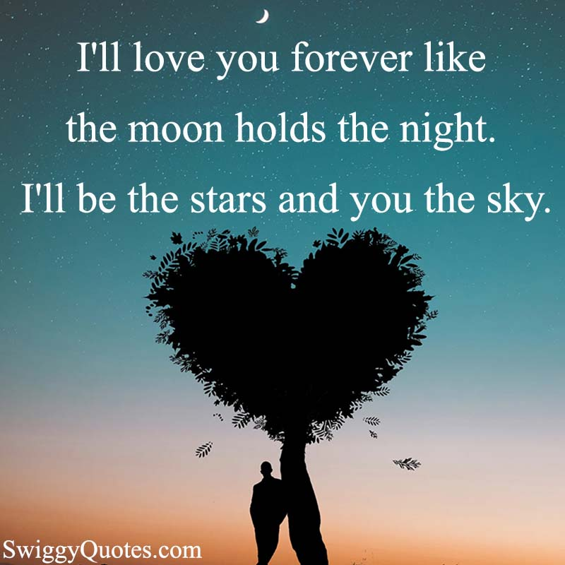 I'll love you forever like the moon holds the night - love quote about stars in the sky